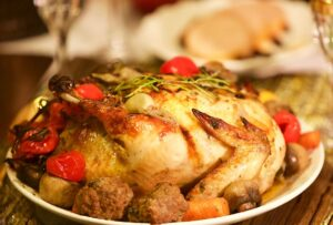 Roast chicken with roasted potato and Christmas pudding recipe