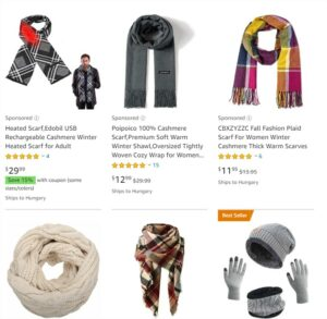 There are several winter scarves available online with Christmas themes you can promote.